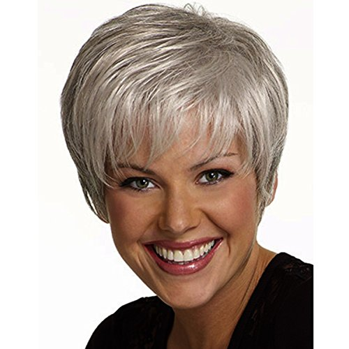 COPLY Women's Short Fluffy Sliver Grey Heat Resistant Synthetic Wig for Mom - Glasses Which Me Suit