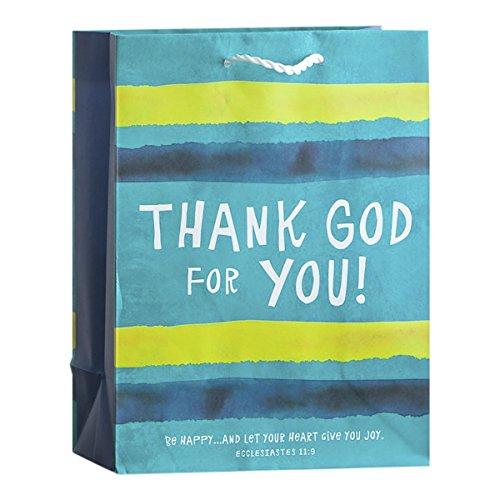 Gift Bag-Value-Thank God For You!-Blue Stripe-Eccl