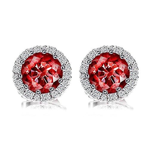 Birthstone Stud Earrings, Copper Plated Cubic Zirconia Earrings for Women Garnet/January (Navy White Earings)