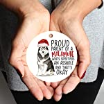Andaz Press Round MDF Natural Wood Christmas Tree Ornament Dog Lover's Gift, Malamute, Watercolor, 1-Pack, Pet Animal Birthday Gift for Him Her Dog Mom Family 9