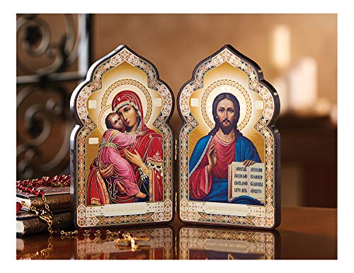Religious Gifts Christ Madonna and Child Catholic Orthodox Russian Icon Diptych 7 3/8 Inch ()