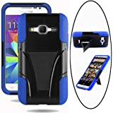 Samsung Galaxy Core Prime Case, Galaxy Prevail LTE Case, Allmet Kick Stand Case [Black+Blue] Premium Durable Rugged...