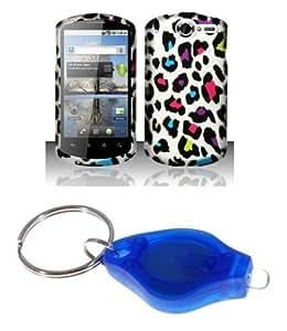 Premium Rainbow Color Leopard Spots Design Rubberized Shield Hard Case Cover + Atom LED Keychain Light for Impulse 4G (AT&T)