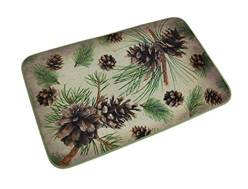 Rustic Pinecone - Microfiber Floor Comfort Mats Microfiber Memory Foam Rustic Pine Cone Bath Mat 32 X 20 Inch 31.5 X 19.5 X 0.38 Inches Beige