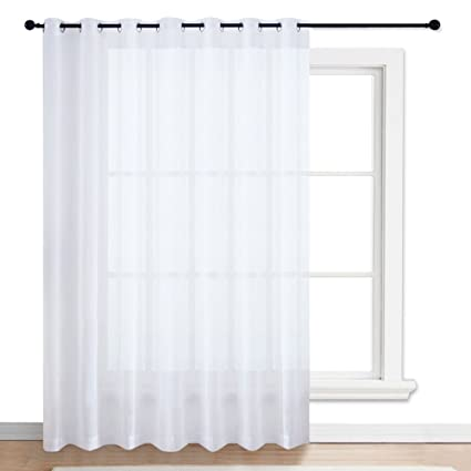 NICETOWN Patio Door Sheer Curtain   Vertical Voile Drape, Extra Wide Curtain  Panel Window Treatment