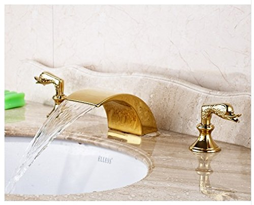 Gowe Gold Finished Deck Mounted Bathroom Sink Faucet Double Handles Three Holes Mixer Tap 1