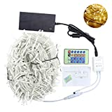 Fullbell Christmas LED String Lights - 24 Buttons Remote Controller 100M/328ft 600 LEDs Outdoor/Indoor Fairy Twinkle Decorative Lights for Party/Wedding/Hallowmas/Patio/Garden and Home (Warm White)
