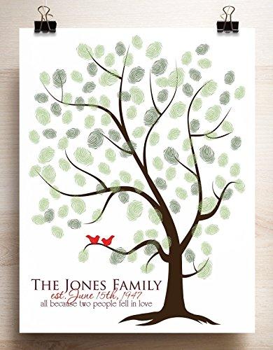 Family Tree Thumbprint Template | Amazon Com Thumbprint Tree Guestbook Alternative For Fingerprints