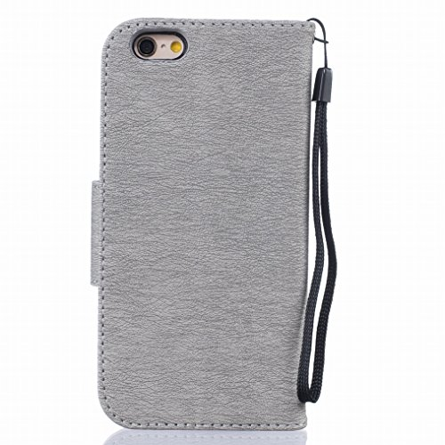 LEMORRY Apple iphone 6 6S (4.7) Funda Estuches Pluma Repujado Cuero Flip Billetera Bolsa Piel Slim Bumper Protector Magnética Cierre Standing Card Slot TPU Silicona Carcasa Tapa para iphone 6 6S (4.7) gris