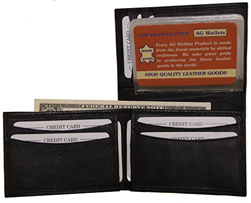 Fold Billfold (AG Wallets Men's Genuine Leather Unique L Shape Billfold with Picture Inserts)