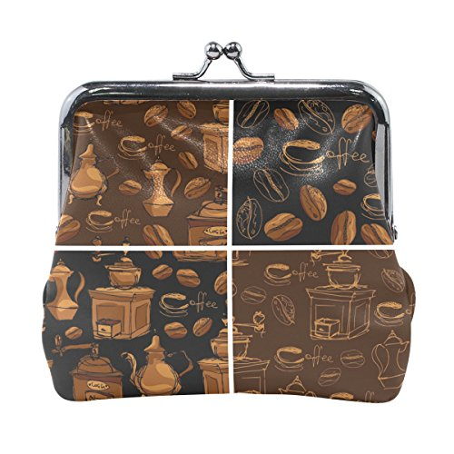 Price comparison product image AHOMY Vintage Tableware Coffee Bean PU Leather Small Wallet Card Holder Coin Purse Clutch Pouch Handbag for Women Girls Students