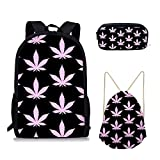 Sannovo 3PCS /set Summer Marijuana Print Women Backpack Beach Bag Cosmetic Case