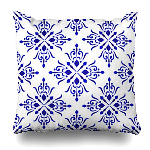 (InterestDecor Throw Pillow Covers Pillowcase Arabesque Antique Abstract Floral Damask Blue White Ceramic Royal Pattern Porcelain Pottery Wall Zippered Square Size 20 x 20 Inches Cushion Case)
