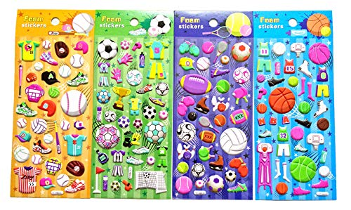 Asian108Markets Sports Sticker with American Football Rugby Basketball Baseball Volleyball Bowling Table Tennis Ice Skating (4 Sheets Reusable Puffy Decorative Scrapbooking Sticker)-SET081-SPORT]()