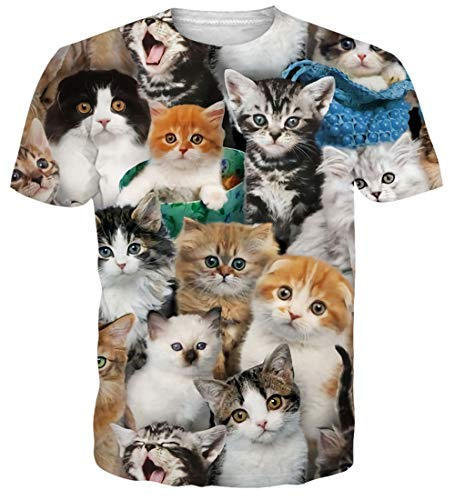 - NEWISTAR Teen Junior Youth Casual 3D Printed Cat Tshirt Short Sleeve Summer Blouse Tees Shirt