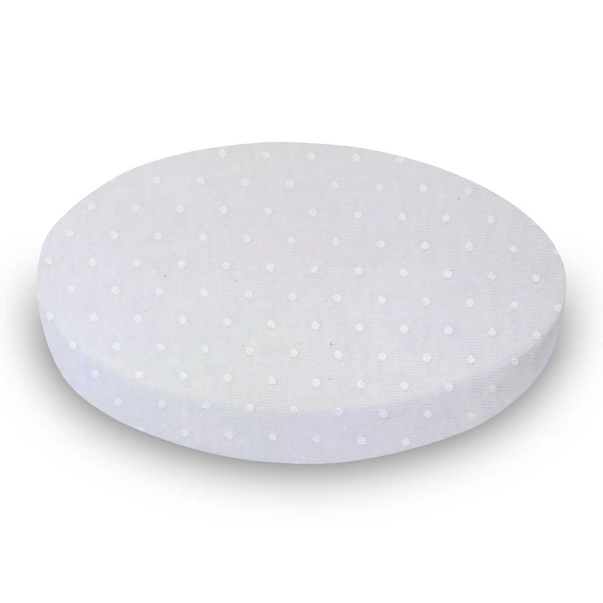 SheetWorld Fitted Oval (Stokke Mini) - White Swiss Dot Jersey Knit - Made In USA by SHEETWORLD.COM