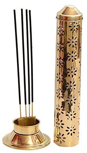 Fashion Bizz Brass Safety Incense Holder Agarbatti Stand with Ash Catcher- 28 X 9 X 9 cm