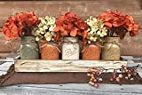 thanksgiving table centerpieces FALL Mason Canning JARS in Wood ANTIQUE WHITE Tray Thanksgiving Centerpiece with 5 Ball Pint Jar -Kitchen Table Decor -Distressed -Flowers (Optional)- Orange Tan Brown Green Yellow Painted Jars
