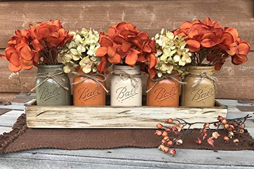 - FALL Mason Canning JARS in Wood ANTIQUE WHITE Tray Thanksgiving Centerpiece with 5 Ball Pint Jar -Kitchen Table Decor -Distressed -Flowers (Optional)- Orange Tan Brown Green Yellow Painted Jars