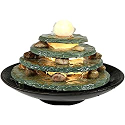 Sunnydaze Decor Round Multi-Level Slate Tabletop Fountain with LED Light, 8 Inch