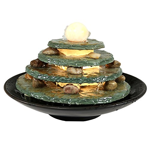 Round Multi-Level Slate Tabletop Water Fountain with LED Light, 8 Inch Tall