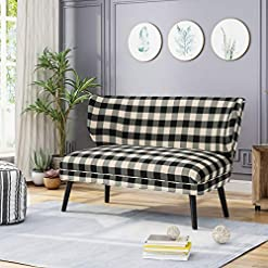 Farmhouse Living Room Furniture GDFStudio Christopher Knight Home Dumont Modern Farmhouse Fabric Settee, Black Checkerboard/Matte Black farmhouse sofas and couches