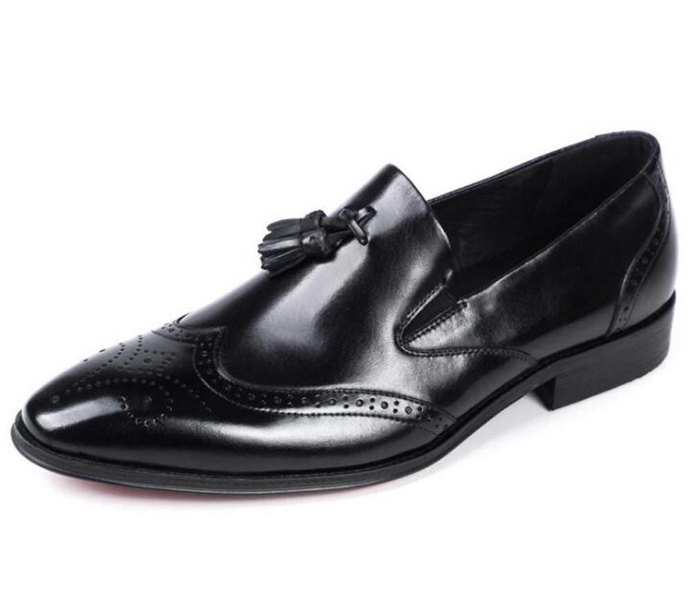 Zapatos de hombre de cuero genuino Smart Business vestido formal borla Brogue mocasines Slip On boda negro marrón talla 38 a 46 , black , EU40 black