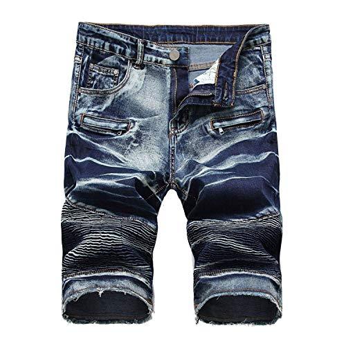 Bolawoo Jeans Uomo Pantaloni Gamba Denim Zip Tagliati Dritta Stretch Ssige Mode Di Marca Pantaloncini Skinny Slim R Den Summer Blue2