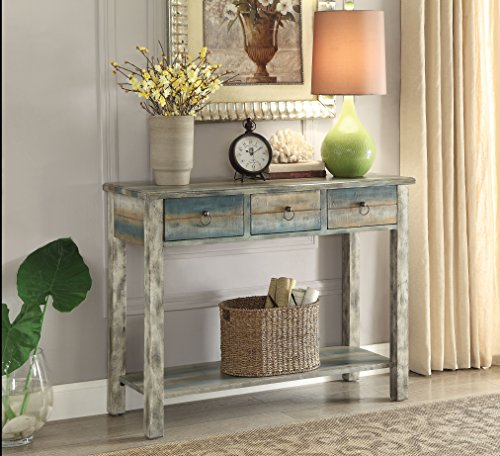 Acme Furniture 97257 Glancio Console Table, One Size, Antique White & Teal