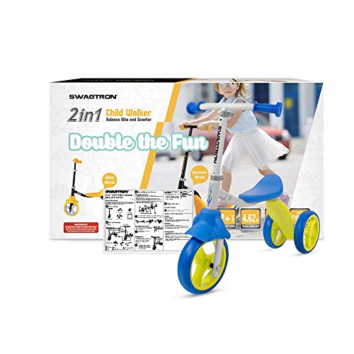 51pym6y4IiL - K2 Toddler 3 Wheel Scooter & Ride-On Balance Trike 2-in-1 Adjustable for 2, 3, 4, 5 Year Old Kids Boy or Girl Transforms In Seconds (Blue)
