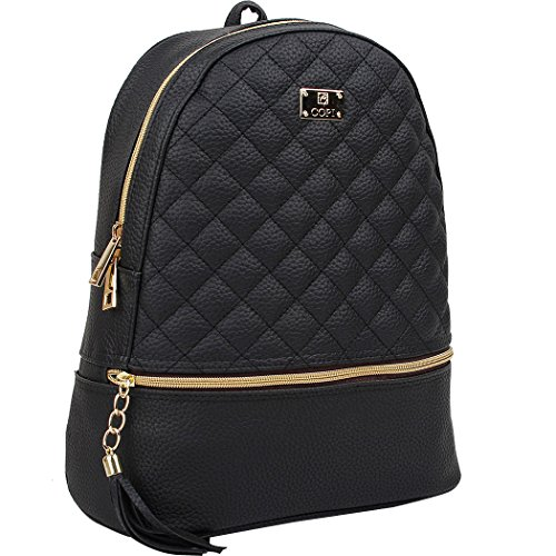 Copi Women's Simple Design Fashion Quilted Casual Backpacks Black by Copi