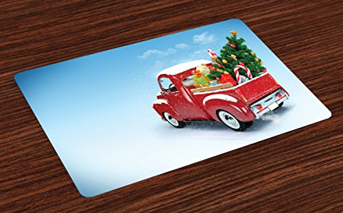 Ambesonne Christmas Place Mats Set of 4, Red Classical Pickup Truck with Tree Gifts and Ornaments Snowy Winter Day Image, Washable Fabric Placemats for Dining Room Kitchen Table Decor, Blue Red (Ornaments Red Winter)