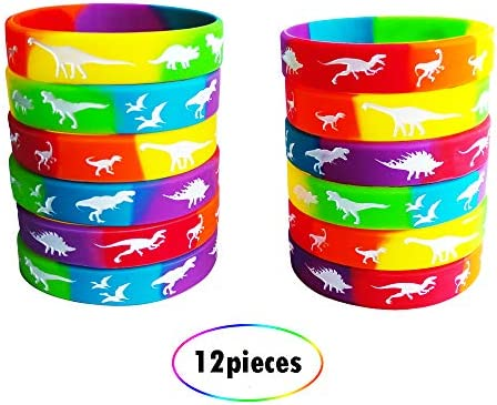 Multicolored Famicitate 12 Pack Dinosaur Silicone Wristbands Party Favors Silicone Rubber Bracelets for Kids