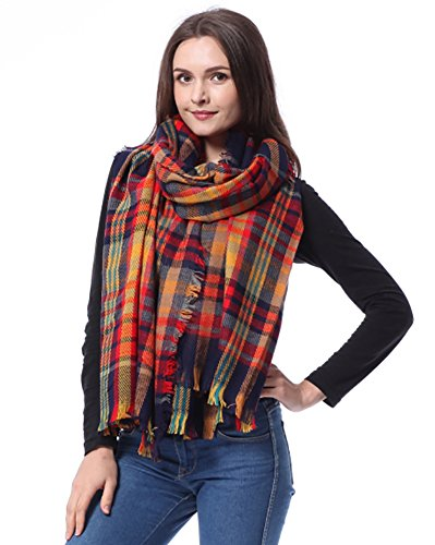 Flesser® Women Blanket Oversized Tartan Scarf Wrap Shawl Plaid Cozy Warm Pashmina (M822)