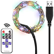 LED String Light, FineGood 33ft / 10m 100 LEDs RGB Multi Color Flexible Dimmable Waterproof with RF Remote Control USB Port 60cm USB Cable