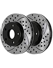 AutoShack PR63007LR Pair of 2 Front Driver and Passenger Side Drilled and Slotted Disc Brake Rotors Replacement for 2007-2009 Chrysler Aspen 2004-2009 Dodge Durango 2002-2015 2016 2017 2018 Ram 1500