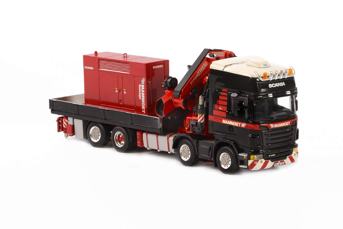 Scania R480 8x2 Mammoet Truck Black with Fassi Crane and Red Generator 1/50 Diecast Model by WSI Models 410201