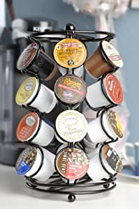 K-cup Coffee Pod Storage spinning Carousel Holder - 24 ct, Black