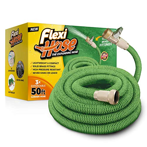 Flexi Hose 50 FT Lightweight Expandable Garden Hose | Ultimate No-Kink Flexibility – Extra Strength with 3/4 Inch Solid Brass Fittings & Double Latex Core | Rot, Crack, Leak Resistant (Green)