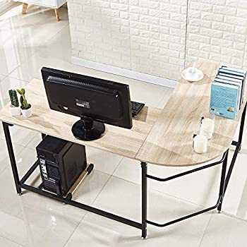 Attractive Hago Modern L Shaped Desk Corner Computer Desk Home Office Study  Workstation Wood U0026 Steel PC Laptop Gaming Table