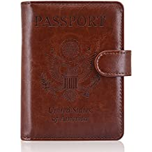 ACdream Leather Passport Holder [Bonus Stylus] Cover Case RFID Blocking Travel Wallet with Magnet Closure, Brown