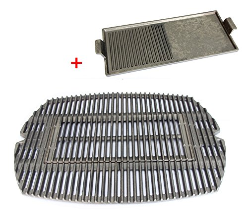 Hongso PCG583 Matte Cast-Iron Cooking Grates for WEBER 7583 Weber q 200 series grills, Weber char q charcoal grills, aftermarket replacements