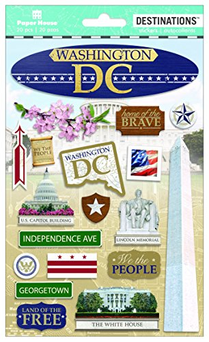 Paper House Productions Travel Washington D.C. 2D Stickers, 3-Pack