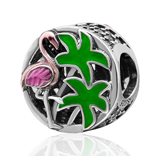 (Palm Trees,Flamingo Charm 925 Sterling Silver Travel Beads fit DIY Bracelet &)