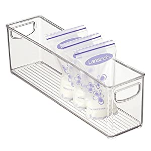 """mDesign Baby Food Kitchen Refrigerator Cabinet or Pantry Storage Organizer Bin with Handles for Breast Milk, Pouches, Jars, Bottles, Formula, Juice Boxes – BPA Free, 16"""" x 4"""" x 5"""", Clear"""
