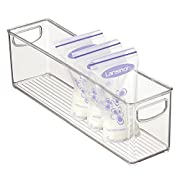 mDesign Baby Food Organizer Bin for Breastmilk Storage Bags/Formula - 16  x 4  x 5 , Clear