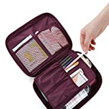 Happy Hours - Portable Foldable Toiletry Bag Cosmetic Organizer Storage / Waterproof Nylon Makeup Case Wash Pouch with Handle and Double Zippers for Travel, Household and Camping(Wine Red)