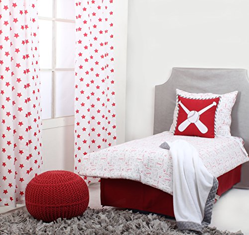 Bacati Baseball Muslin 4 Piece Toddler Bedding Set, Red/Grey