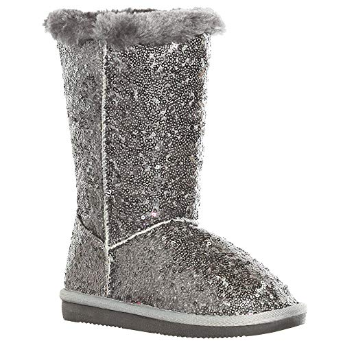 shoewhatever Sequined Mid-Calf Faux Fur Snow Boots for Girls (11, -
