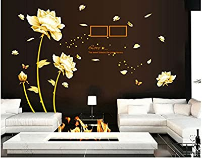 Sworna Nature Series Removable Vinyl Mural Wall Decal Sticker, 3D Gold Flowers with Butterflies, 57 X 65-Inch
